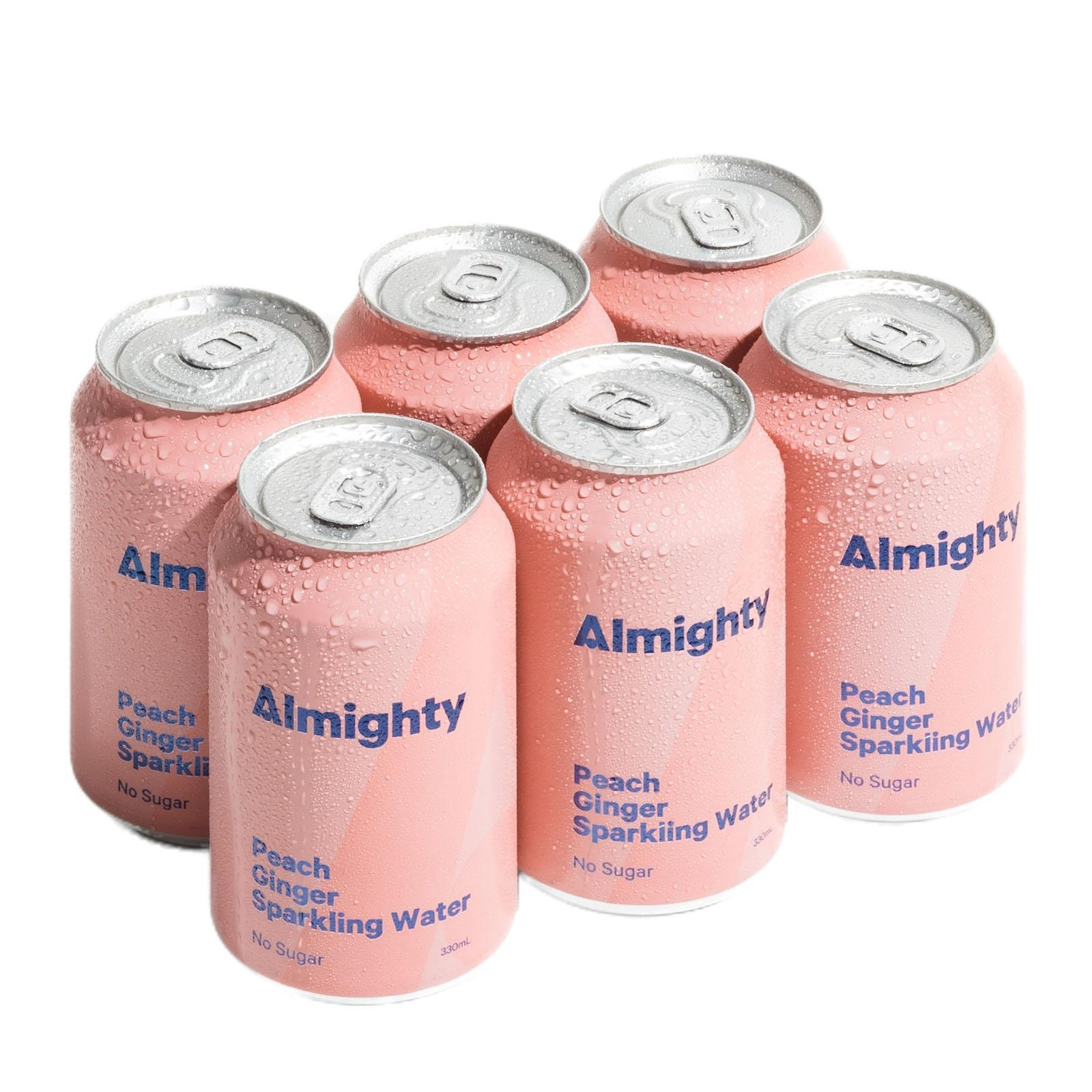 Drink Almighty Sparkling Water - Peach and Ginger 330ML X 6
