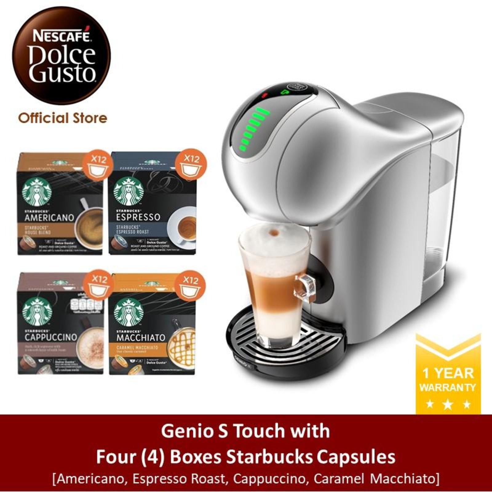 NESCAFE Dolce Gusto *GWP* Genio S Touch w 4 Starbucks Capsule