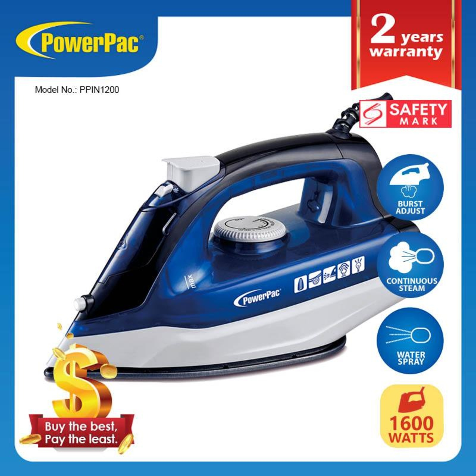 PowerPac (PPIN1200) Steam Iron