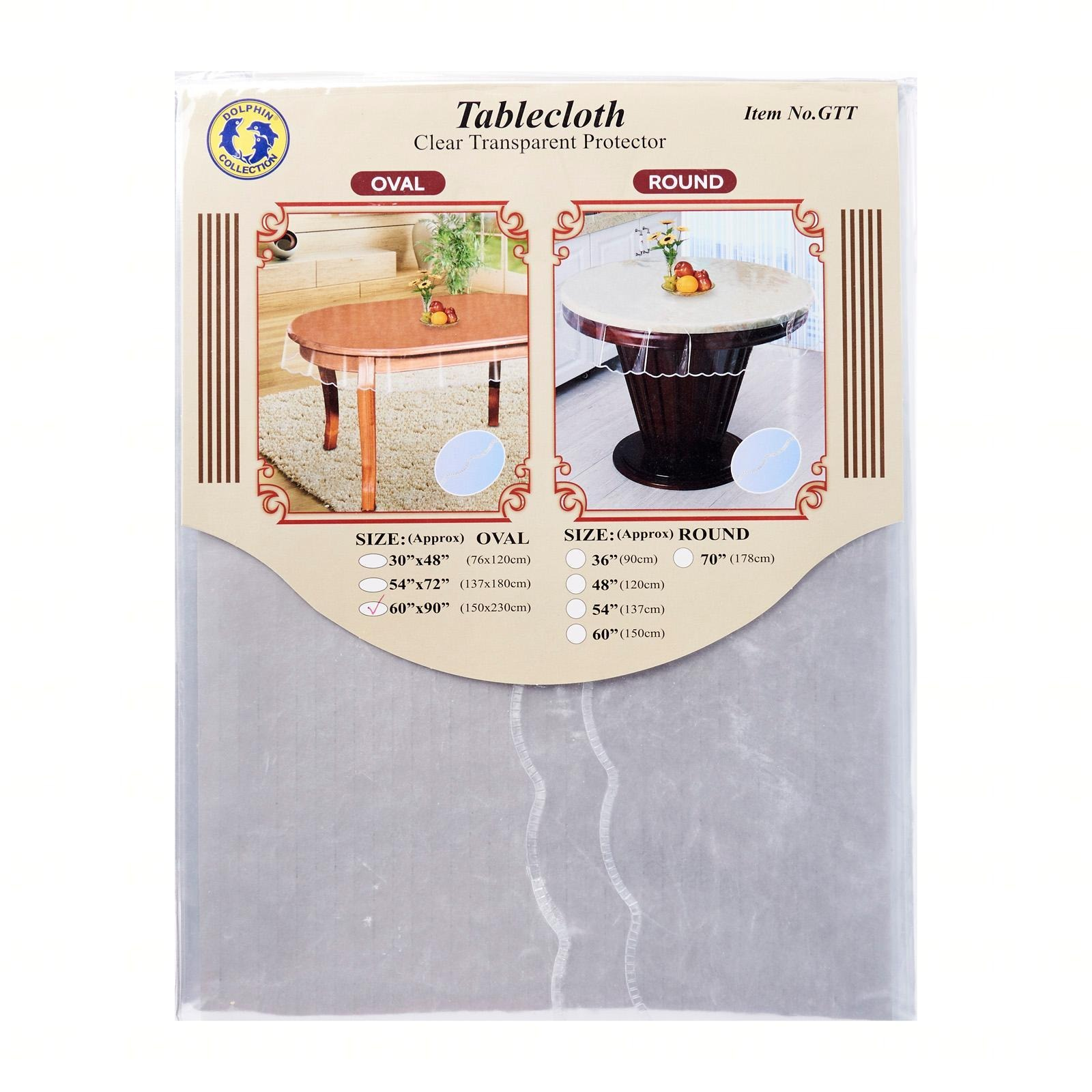 Dolphin Collection PVC Clear Transparent Tablecloth Oval