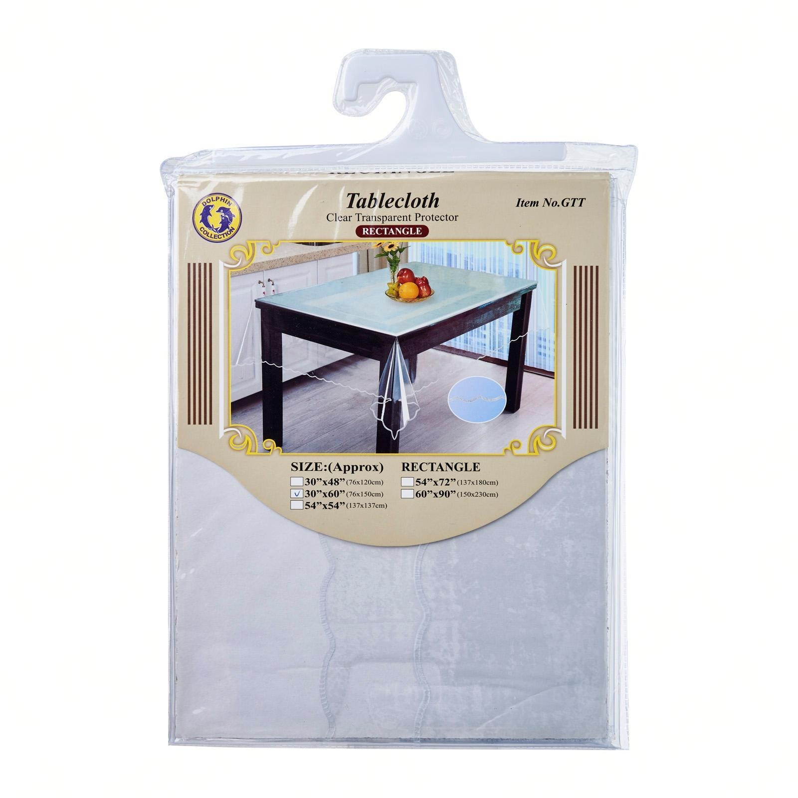 "Dolphin Collection PVC Clear Tablecloth 30""X60"" Oblong"