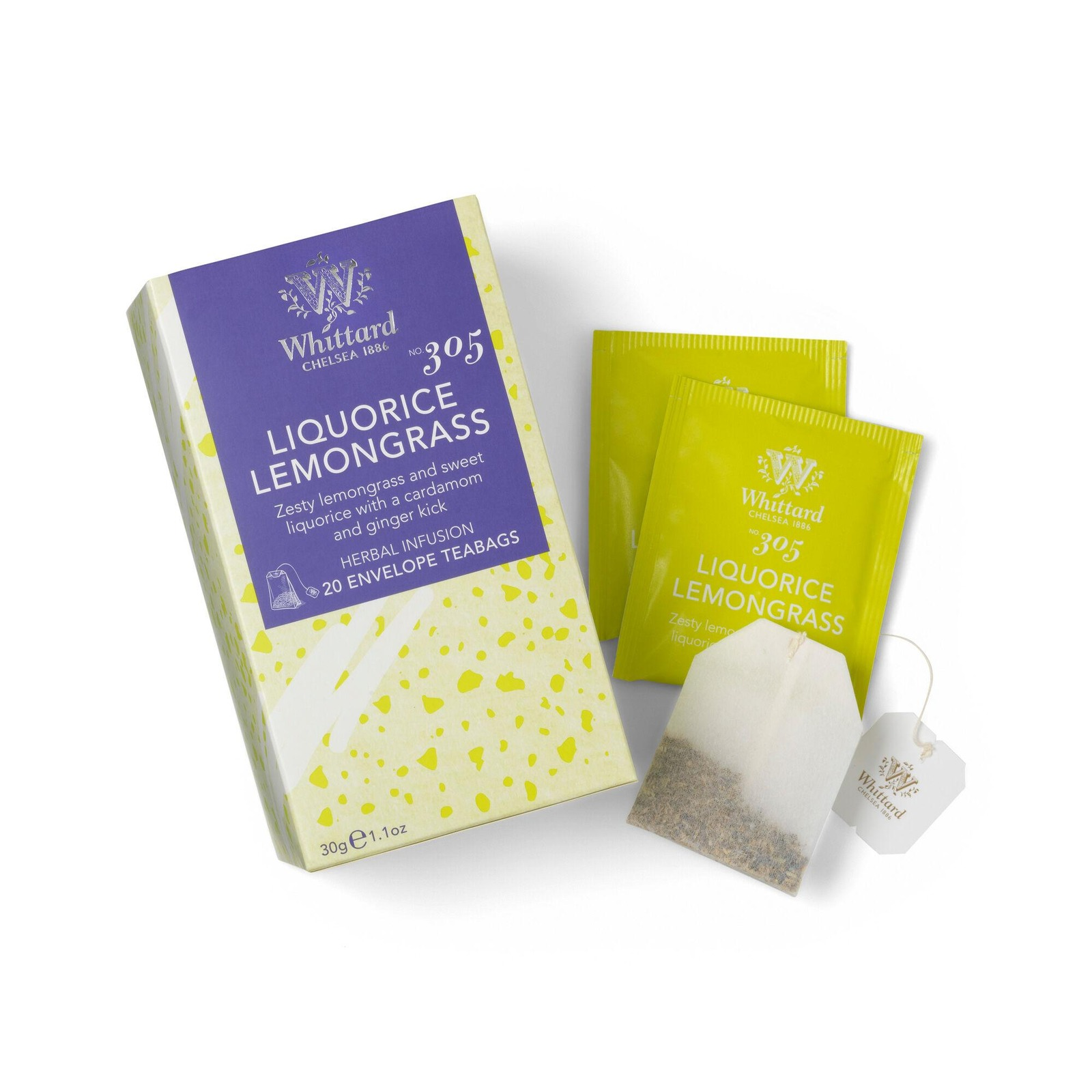 Whittard Liquorice Lemongrass 20 Individually Wrapped Teabags
