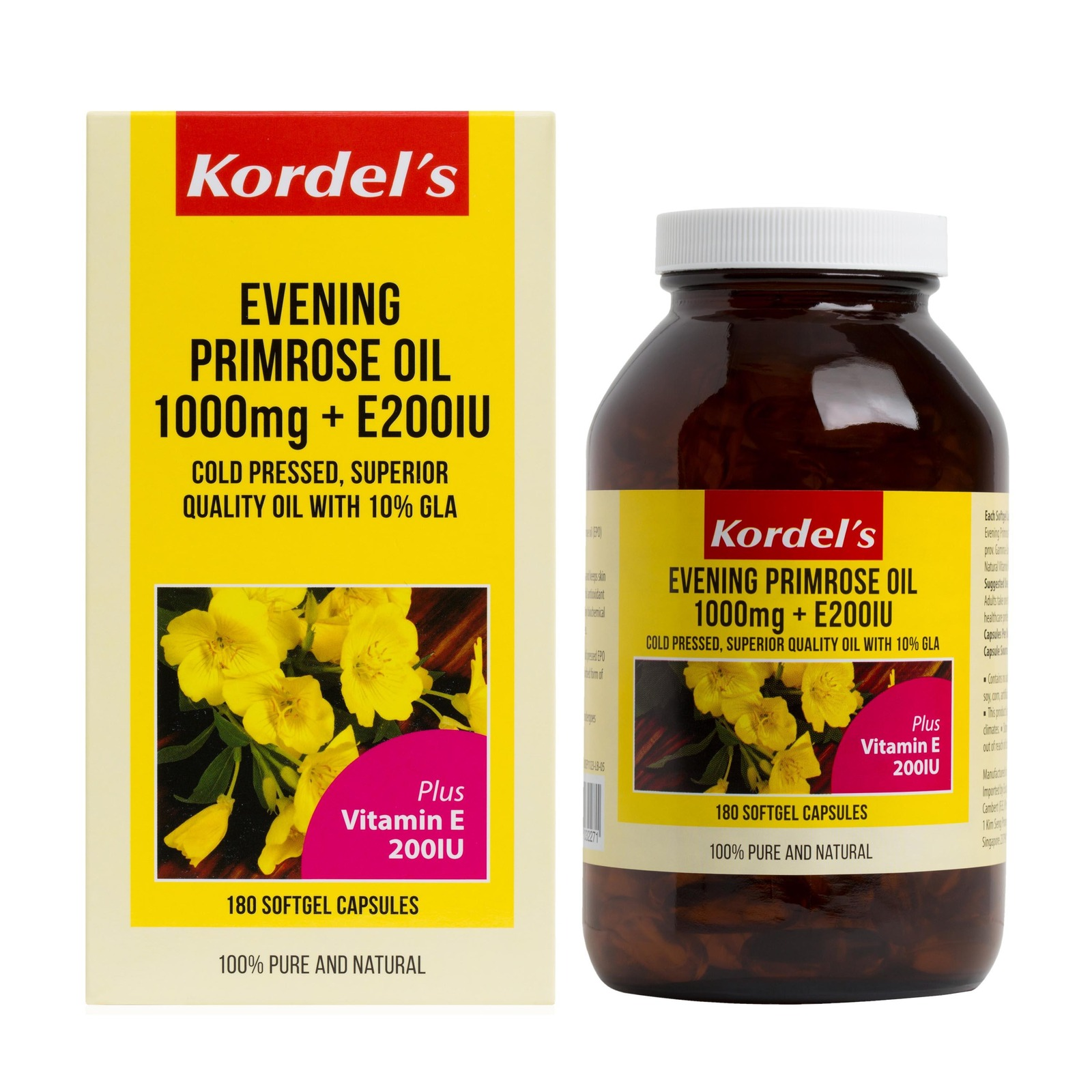 KORDEL'S EVENING PRIMROSE OIL 1000  mg + E 200IU 180S
