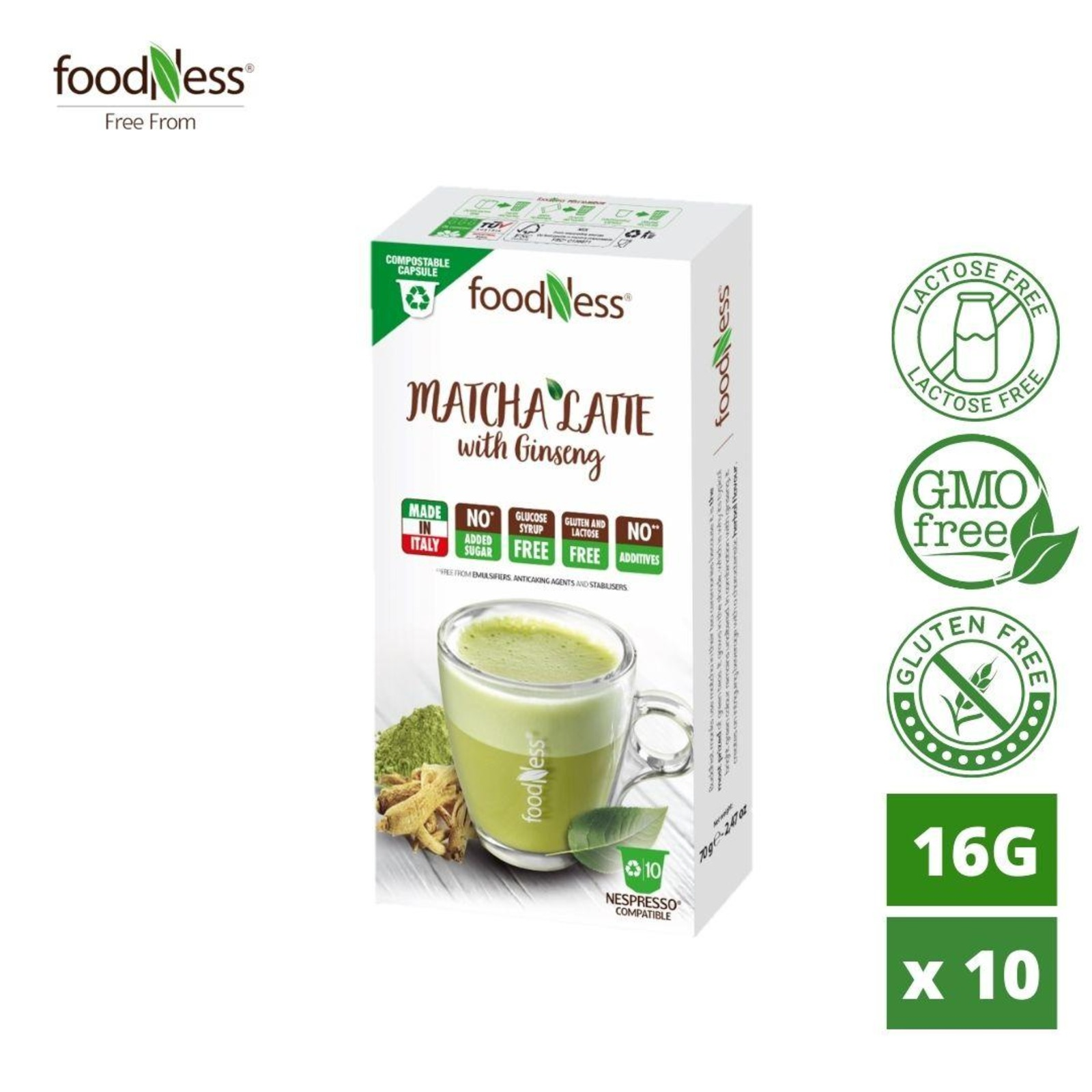 Foodness Nesp Matcha Latte With Ginseng Box Of 10 Capsules Ntuc Fairprice