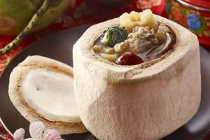 Fish Maw Soup in Young Coconut