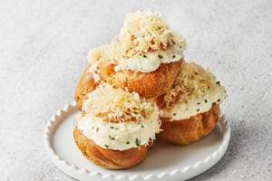 Choux Puffs with Aged Gouda and Truffle Cream