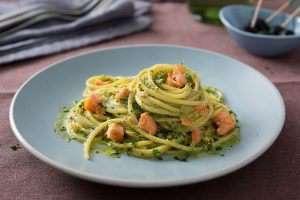 Spaghetti with Salmon and Pesto Genovese