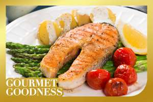 Roasted Salmon and Vegetables with Cucumber Yogurt Sauce